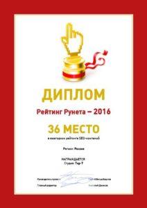 36 место по России
